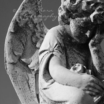 Angel Photography, Mt. Carmel Cemetary, Religious Art, Cemetary Art, Angel Wings, Black and White, Cemetary Headstone, 8 x 10 print