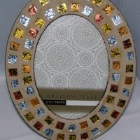 Copper Silver Bronze Gold Stained Glass Mosaic Frame, Oval Frame, 5 x 7, Copper Frame, Holiday Gift , Christmas Gift