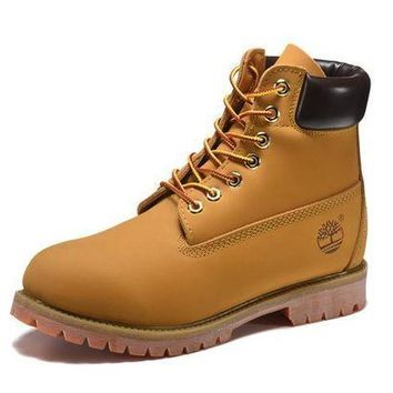 DCK7YE Best Deal Online Timberland 10061 Leather Lace-Up Boot Men Women Shoes Yellow