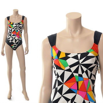 NOS Vintage 80s New Wave Geometric One Piece Swimsuit 1980s Abstract Multi Color High Cut Beach Bathing Suit Maillot Swimwear / size 18