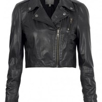 Brixia Cropped Leather Biker Jacket in Black