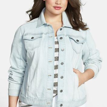 Sejour Patch Pocket Denim Jacket (Plus Size)