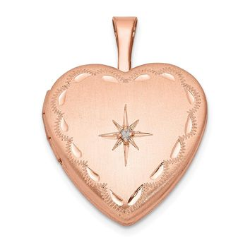 925 Sterling Silver Rose Gold-plated and Diamond 16mm Satin and Diamond Cut Heart Locket