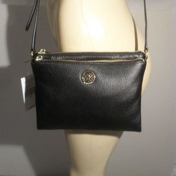 DCCKW7H NWT Michael Kors Fulton Black Leather Large Crossbody Bag MK Messenger Purse