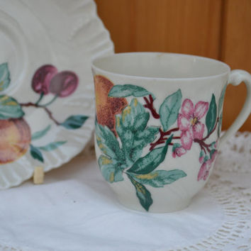Genevieve Lethu china Demitasse/ limoges France/ china coffee cup/ handpainted fruit