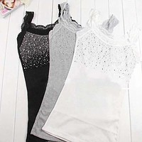 Women's Rhinestone Lace Stunning Based Sleeveless Vest Tank Top Tee T-Shirt Black White Gray A1250-448E