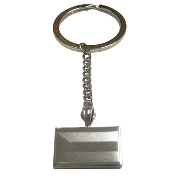 Silver Toned Etched Palestine Flag Pendant Keychain