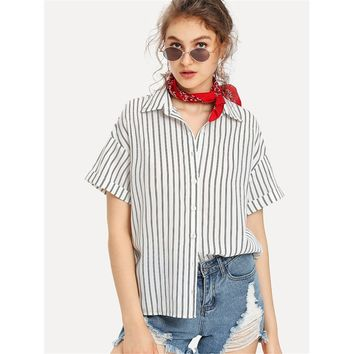 Roll Up Sleeve Striped Shirt