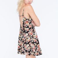 Full Tilt Floral Tiered Dress Black Combo  In Sizes