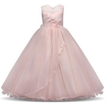 Long Gown Children Lace Princess Girl Dress for Wedding Birthday Party Teenage Girl Kids Evening Prom Dresses for Girls