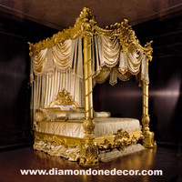 Baroque Luxury gold leaf Rococo French reproduction Louis XV Mahogany King Size bed