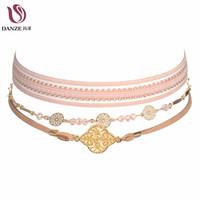 Danze 2017 Vintage Handmade Elegant Chain Choker Necklace Women Circle Leaf Pendant Necklaces Collier Collares Mujer 3 Pcs/Set
