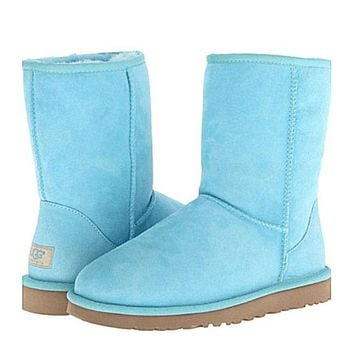 UGG Short boots antiskid warm lazy sheep fur simple ugg boots canister boots Fresh Lake blue