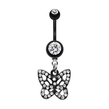 Blackline Butterfly Belly Button Ring