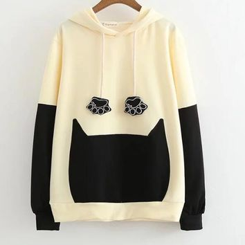 2017 autumn Cat hand embroidery hooded long sleeve casual sweatshirt mori girl pullover