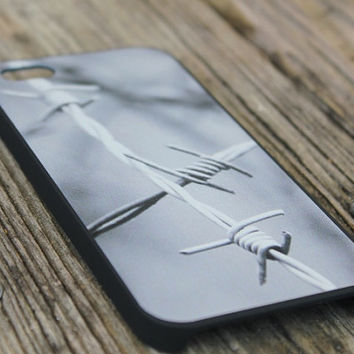 Men iPhone Case, Barbed Wire, Southern iPhone 5 Black Cover, Man Manly iPhone Case, Fathers Day Gift
