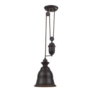 Elk Lighting 65070-1 Farmhouse Oiled Bronze Pulley Adjustable Height One Light Mini Pendant