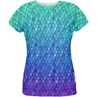 Halloween Mermaid Scales Costume All Over Womens T Shirt