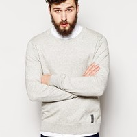 Replay Crew Knit Rib Neck - Gray