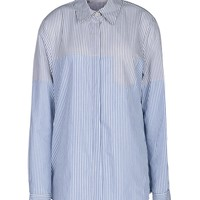 Thakoon Addition Two-Tone Pinstripe Blouse - Cotton Blouse - ShopBAZAAR