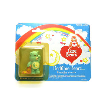 "Bedtime Bear Figurine MOC Mint on Card Vintage Care Bears PVC ""Ready for a Snooze"""