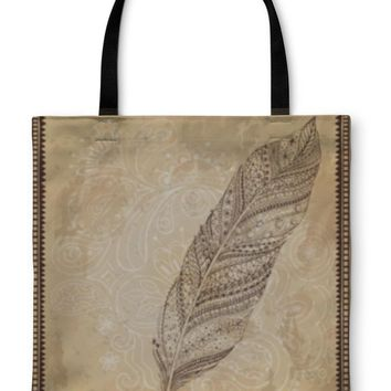 Tote Bag, Artistically Drawn Stylized Tribal Graphic Feather With Hand Drawn Swirl Doodle