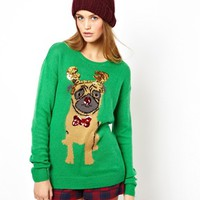 ASOS Holiday Sweater With Pug - Green