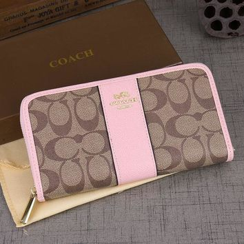 Coach Fashion new pattern print leather contrast color bag wallet Pink