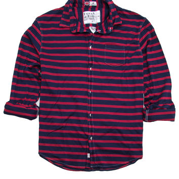 Frank & Eileen Luke Red and Navy Stripe Pique Knit Shirt
