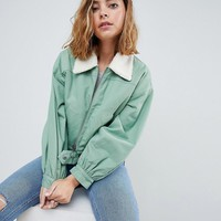 ASOS PETITE Utility Jacket with Fleece Collar at asos.com