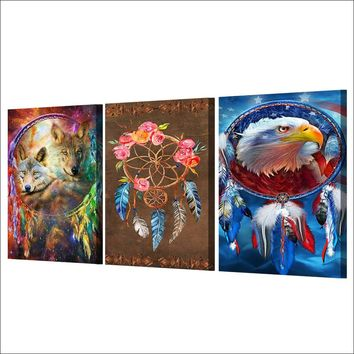 3 panel canvas wall art panel print Dreamcatcher painting wolf eagle feathers