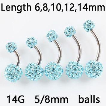 Belly ring fashion Woman body Piercing jewelry belly button ring rhinestones balls Navel bar 14G  stainless steel Free shipping