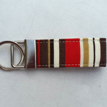 Handmade fabric key fob. Fabric key ring. Ideal gift. Stocking Filler. Brown stripe fabric keyring. Fabric keychain. Male fabric keyring.