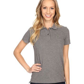 Lacoste Women's Gray Color Short Sleeve Pique Original Fit Polo Shirt