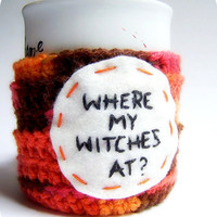 Witch Coffee Mug Cozy Tea Cup orange brown crochet by knotworkshop