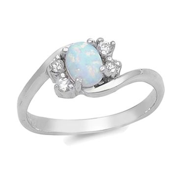 Sterling Silver Cubic Zirconai CZ White Simulated Opal Bypass Promise Engagement Ring