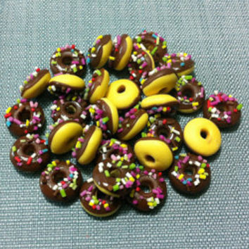 20 Miniature Chocolate Donuts Clay Polymer Brown Round Cookies Cakes Biscuits Cute Tiny Small Dollhouse Bakery Supplies Food Jewelry Beads