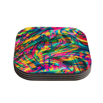 "Danny Ivan ""Wild Abstract"" Rainbow Illustration Coasters (Set of 4)"
