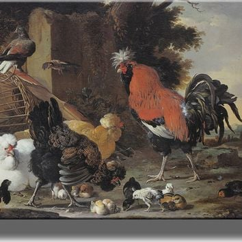 A Rooster and a Hen with Chicks By Melchior De Hondecoeter Picture on Acrylic , Wall Art Decor Ready to Hang!.