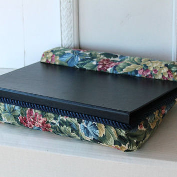 Vintage Navy Floral Bean Bag Lap Tray With Wrist Rest And Storage Under Top  , Laptop