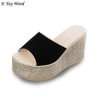 2018 han edition waterproof  ladies slippers out email platform wedge sandals thick high-heeled platform flip flops