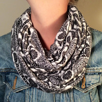Black & White Infinity Scarf in Soft Jersey with Elephant Print - Loop Scarf, Circle Scarf