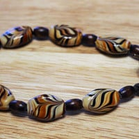 Nature-Inspired Bracelet; Handcrafted Bracelet; Earth-Toned Bracelet; Wood and Porcelain Fancy Swirl-patterned Bead Bracelet; OOAK
