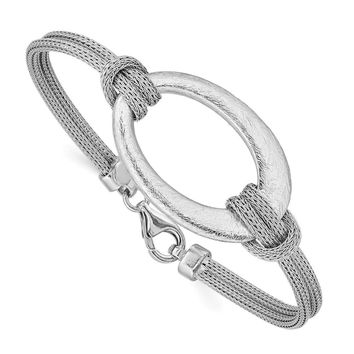 Sterling Silver Brushed Oval Mesh Knotted Bracelet