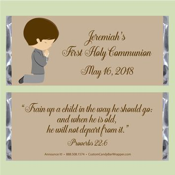 Boy Praying First Communion Candy Bar Wrappers