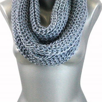 Thick Knit Infinity Scarf - Grey