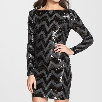 Women's Dress the Population 'Lola' Chevron Sequin Body-Con Dress