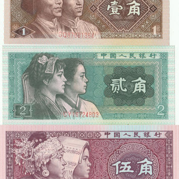 3 Chinese Crips Banknotes 1 2 5 Renmin Yinhang banknote old banknote world 1980 old collectible banknotes asian banknotes banknotes china