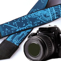 Computer camera strap. Microsheme Camera strap. Circuit board Camera Strap. Mens Camera strap for Nikon, Canon, Sony, Fuji and other cameras