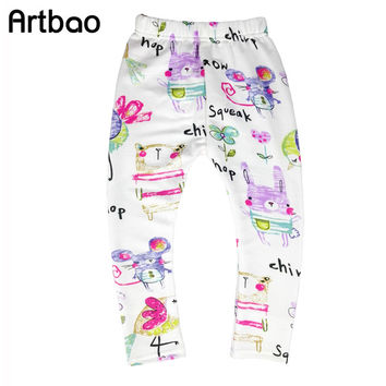 2017 New autumn children pants fashion leggings girls 2-9T Hand Painted style girls pants mid casual long pants for kids girls